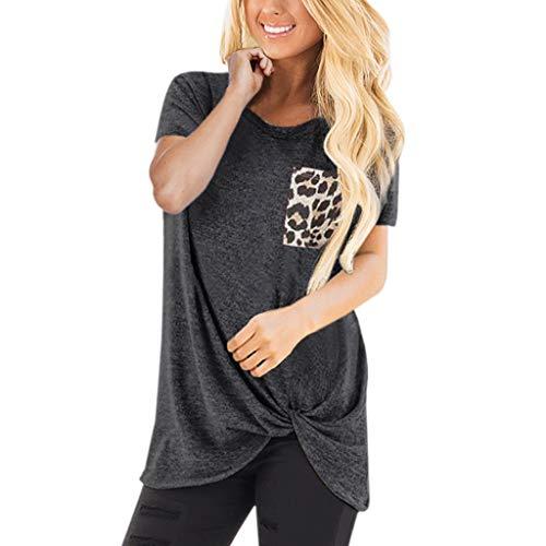 Damen Casual Leopard Patchwork Farbblock Langarm T-Shirt Asymmetrischer Verknotet Langarmshirt Tops Sweatshirt Tunika Top Pullover Bluse Oberteil Heißer LEEDY