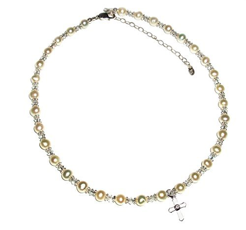 Precious Pieces Girl's Sterling Silver Cross Necklace with Cultured Pearl and Crystal 12-14″