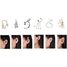 Bundle Monster - Set variado 6 piezas pendientes piercings - Para orejas perforadas y no perforadas