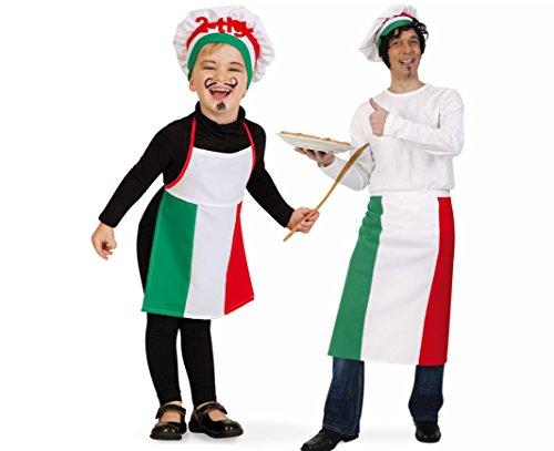 narrenwelt Kinderkostüm  Kleiner Pizza Bäcker  Pizza Mann 2 TLG. Set 128 PB Kinder Fasching Kostüm Schürze mit Mütze Kinderkostüm ()