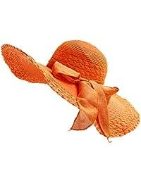 WDILO Sombrero de playa de verano de turismo salvaje, plegable, fácil de llevar, paja, Naranja, 56-58CM