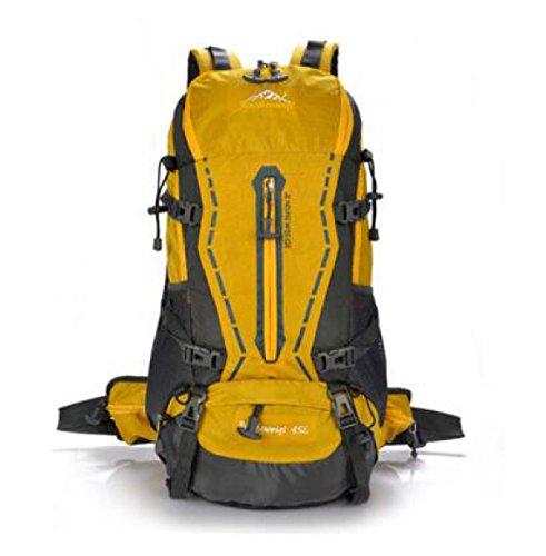 Bergsteigen Tasche Mit Sport Stents Im Freien Rucksack 45L Mit Regt Abdeckung Yellow