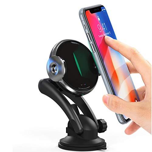 ZHJIUXING HO Handyhalterung Auto Wireless Charger Qi KFZ Handyhalter mit Infrarot Sensor Handy Halterung Induktions Ladegerät 10W MAX mit Lüftungshalterung, Black -