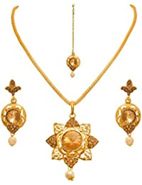 JFL - Traditional Ethnic One Gram Gold Plated LCD Champagne Designer Pendant Set With Earring For Women And Girls.