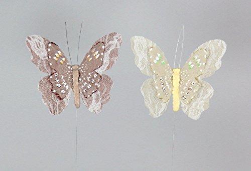 Stoff Schmetterling 10cm Floristik Bastelbedarf 12 Stück
