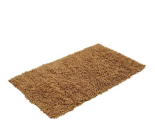 Gözze Teppich, 100% Baumwolle, Wollgarn-Hochfloroptik, 70 x 120 cm, Marone, 1010-8033-72