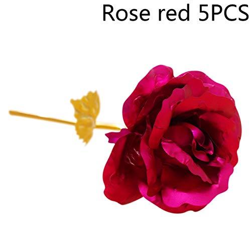 WISH4U 24K Goldfolie künstliche Rose Blume