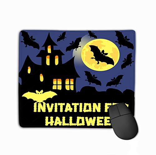 Family Mouse Pad,Standard Size Rectangle Non-Slip Rubber Mousepad 11.81 X 9.84 Inch Invitation Halloween Party Card Mix Bats Castle Moon Dark Background Dreamy