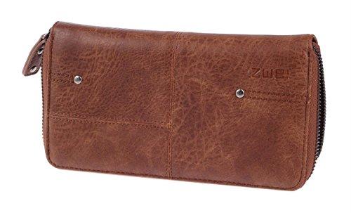 Reißverschluss-geldbörsen Zwei (Zwei Vintage V2 Reißverschluss Geldbörse Portemonnaie Geldbeutel Brieftasche, Farbe:Kamel)