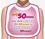 Dream' s Party La BAVAGLIA bavaglione del 50 ENNE - Idea Scherzo Gadget per la Festa di Compleanno dei 50 Anni - Sexy 50enne con Due Tette da 20enne e l'esperienza di Una 30enne!