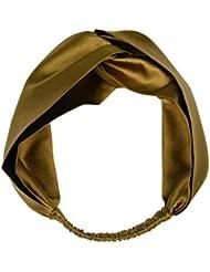 Crossover seda marrón oro vintage exclusivo estiramiento elástico venda de banda ancha de hipster