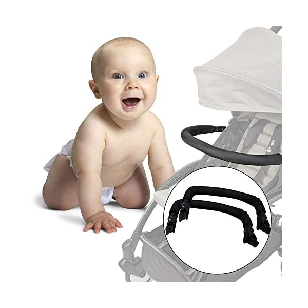 Baby Stroller Armrest, Joyhoop Pushchair Bar Compatible with Babyzen YOYO YOYO+ Yoya VOVO Babysing Hiwide YUYU Jeyhoop 【Baby Stroller Armrest】- The armrest is designed for protecting baby from collisions with walls, posts, people, obstacles, ensure your baby's protection wherever you go. 【More Intimate Design】- Feature a soft grip all around the front. If your baby leans too far forward, waves their arms, or kicks their legs and hits the armrest, the soft grip will protect them from painful bumps and bruises. 【Premiun Fabric】- The pushchair bar made of high quality oxford fabric and iron pipe, which is wear resistant, not easy to break, strong, lightweight and and is designed for long lasting use. 6