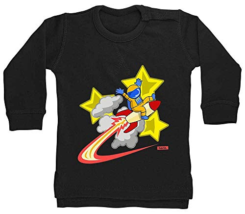 HARIZ Baby Pullover Astronaut Auf Rakete Sterne Astronaut Stern Weltraum Inkl. Geschenk Karte Pinguin Schwarz 18-24 Monate