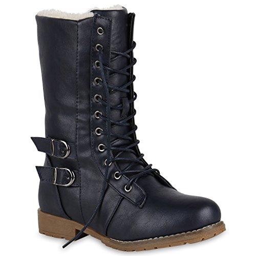 Damen Schnürstiefel Warm Gefütterte Stiefel Winter Schuhe Profil 150989 Dunkelblau 36 Flandell