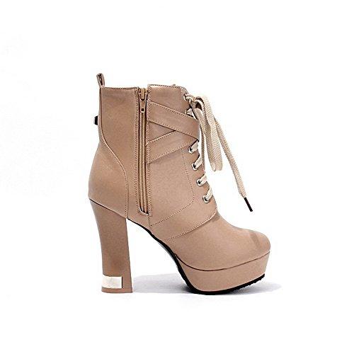 AgooLar Damen Schnüren Rund Zehe Hoher Absatz Blend-Materialien Niedrig-Spitze Stiefel, Rot, 37