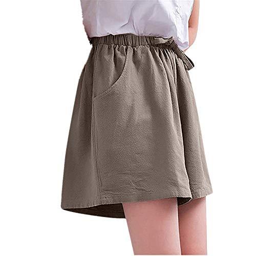 WOZOW Shorts Kurze Hose Damen Bettwäsche Baumwolle Solid Einfarbig Falten Gefaltet Plissee Mini Dress Freizeithose Stoffhose Riemchen Loose Bequem High Waist Pyjama Trousers (L,Khaki)