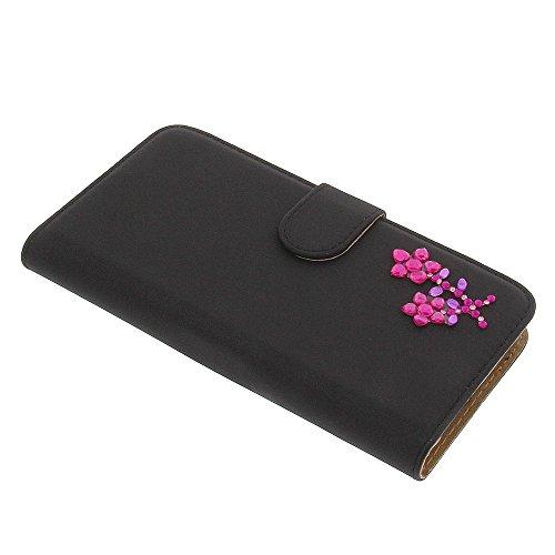 Strass Blume Tasche für Wiko Slide Book Style Ständer Schutz Hülle Buch Schwarz