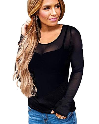 Imixcity Blusa de Malla Clubwear para Mujer Transparente Sexy Deep V Low Cut Camisas de Manga Larga Ajustado Costura de Malla Camisetas y Tops (EU 3XL=Tag 4XL, B#Negro)