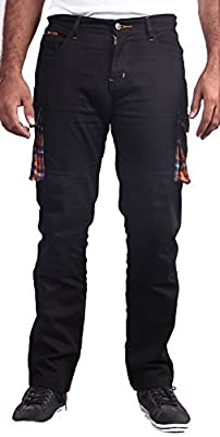 HB Men's Motorcycle Aramid Lined Cargo Pants. Motorcycle Cargo Jeans.