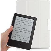 iHarbort® Amazon Kindle 2014 Custodia, ultra leggero sottile pelle Custodia in pelle Cover per Amazon Kindle 2014 caso coprire, con la funzione sleep/wake-up auto (Kindle 2014, Bianco)
