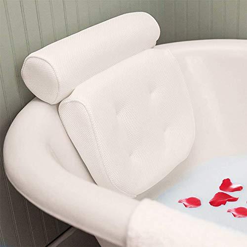eTACH Badewannenkissen Spa, Badewannenkissen mit Saugnäpfen, ergonomische Kopfstütze für Badewanne, Whirlpool, Home Spa weiß