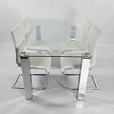 Charles Jacobs Dining Table Set with 4 White Chairs, Clear Glass Top and Chrome Legs, 4 Seats - Premium Quality
