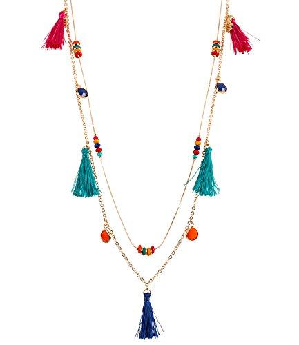 SIX Damen Schmuck, Zweiteilige Boho Kette mit bunten Perlen, Quasten und Ananas Anhängern, Hippie Kostüm, Karneval, Fasching ()