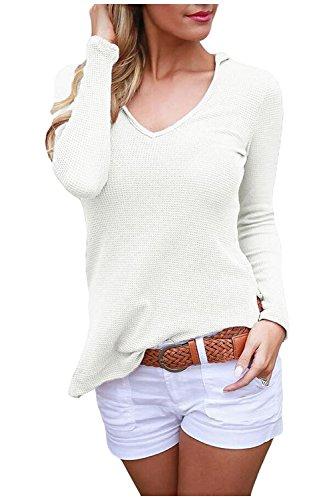 Issza Damen V-Ausschnitt Hoodies Pullover Langarm Strick Bluse Tops T-shirt Kapuze Pullover Oberteile Tunika (Kapuzen-langarm-tunika)