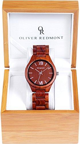 OLIVER REDMONT Holzuhr aus echtem Sandelholz | RED EDITION | Edle Geschenk-Verpackung | Naturprodukt | Hypoallergen | Unisex Holz-Armbanduhr für Damen und Herren