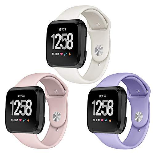 Kmasic Sport Armband Kompatibel Fitbit Versa, Soft Silikon Ersatz Armband Kompatibel Fitbit Versa Smart Fitness Uhr, 3 Pack-Beige/Sand Rosa/Pastell veilchen, Gro?
