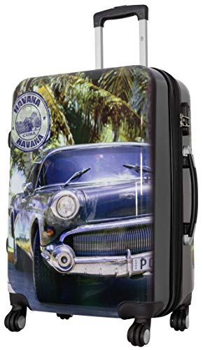 Trendyshop365 Hardcase Citykoffer Kuba Havanna Car Oldtimer - 67 Zentimeter 62 Liter 4 Zwillingsrollen Zahlenschloss bunt