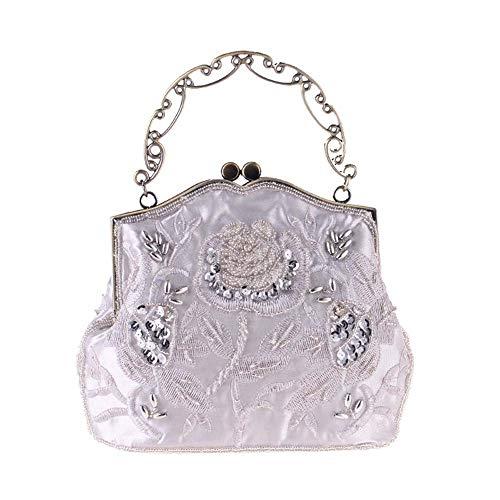 Edle Werfen (Zzyff Elegant Europa Und Amerika Damen Edle Vintage Perlen Tasche Handtaschen Abendtasche Polyester Stickerei Abendtasche Schwarz Gelb Weiß Blau Gute Qualität (Farbe : White))