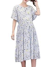 BESTHOO Mujer Vestido Premamá Lactancia Ropa Cuello Redondo Manga Corta Oversize Enfermería Vestido Estampar Flores Guapas
