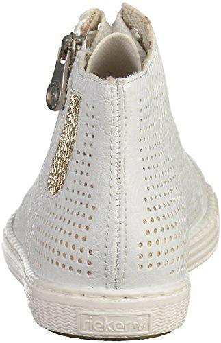 Rieker Damen L0925 Hohe Sneaker Weiß (Weiss/Lightgold)