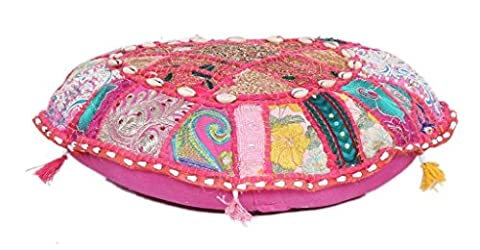 Decorative Living Room Cotton Cushion pouf Indian Embroidered Patchwork Ottoman