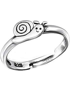 SL-Silver Kinderring Zehring Ring kleine Schnecke Grösse einstellbar 925 Silber