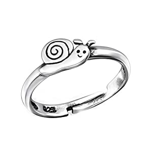 FIVE-D Kinderring Zehring Ring kleine Schnecke Grösse einstellbar 925 Silber