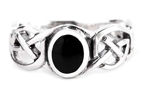 WINDALF Celtic Damen Ring NORAN h: 0.8 cm Eleganter Schwarzer Onyx mit Zopfmuster 925 Sterlingsilber (Silber, 52 (16.6))
