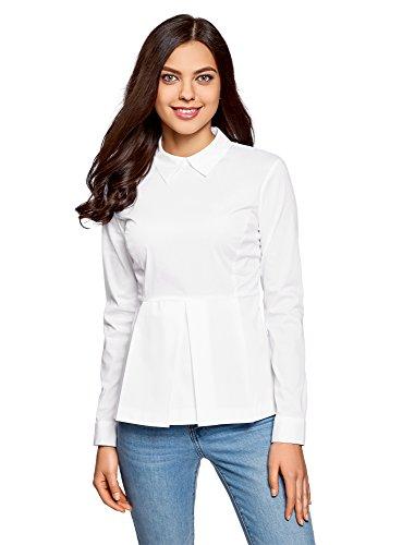 - Knopf-manschette Rüschen Bluse (oodji Ultra Damen Baumwoll-Bluse mit Schößchen, Weiß, DE 42/EU 44/XL)