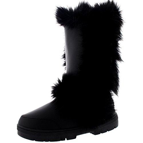 Damen Lange Fellschnitt Pelz Gefüttert Wasserdicht Winter Schnee Regen Sitefel Schwarz Leder