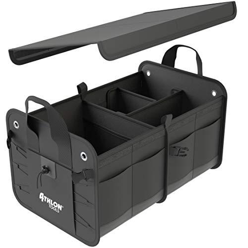 ATHLON TOOLS Premium Kofferraumtasche mit Deckel | Extra stabile & wasserfeste Böden | XXL Kofferraum-Organizer mit vielen Fächern | Faltbare Autotasche Autobox |mit Antirutsch-Klett (Netz-tasche Individuelle)
