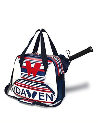 Idawen Tennistasche | Designer Sporttasche für Damen| Blau & Weiß | beschränkte Auflage | Mehr Innere Sachen für die organisierte Lagerung | Hohe Kapazität, Licht | veganes Produkt, Peta-Zertifiziert (Hohe Kapazität Licht)