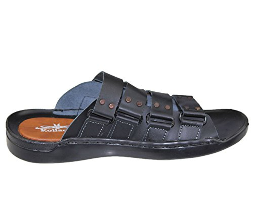 Herren Slip auf Sandalen Slipper Casual Beach Walking Synthetik Leder Sommer Fashion Flip Flop Größe Black