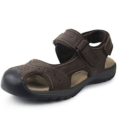 Los hombres sandalias Primavera Verano Otoño comodidad cuero Nappa oficina exterior &Amp; Carrera vestir casual zapatos de agua marrón oscuro US7 / EU39 / UK6 / CN39