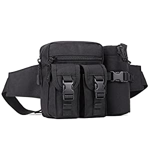 41Vivr8A2TL. SS300  - Huntvp Tactical Water Bottle Waist Pack Bag Military Molle Pouch Fanny Bag Bumbag for Outdoors Daily Use