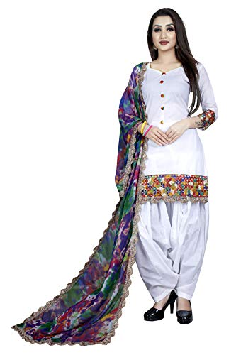 ad261267da Saiyaara Fashion Women\'s Cotton Salwar Suit Dupatta Material (White  Patiala Unstitched Salwar Suit_N_White_Free Size) Online Shopping in India