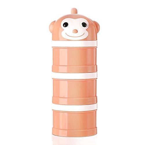 Milchpulver-Portionierer für 3 Portionen Formel Spender Nein Mischen & Verschütten Twist-Lock Stapelbare Snack Container Orange Affe