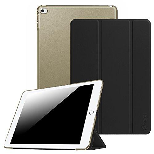 Fintie Hülle für iPad Air 2 - Ultradünne Superleicht Schutzhülle mit transparenter Rückseite Abdeckung Smart Case mit Auto Schlaf/Wach und Standfunktion, Schwarz (Ipad 64 Cellular Air 2)