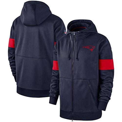xisnhis Rugby Trikot,Herren Pullover - New England Patriots Football Team Uniform Pullover Zip Hoodies, Langarm-3D-Logo Digital-Sweatshirt Druck, M ~ 165~170CM