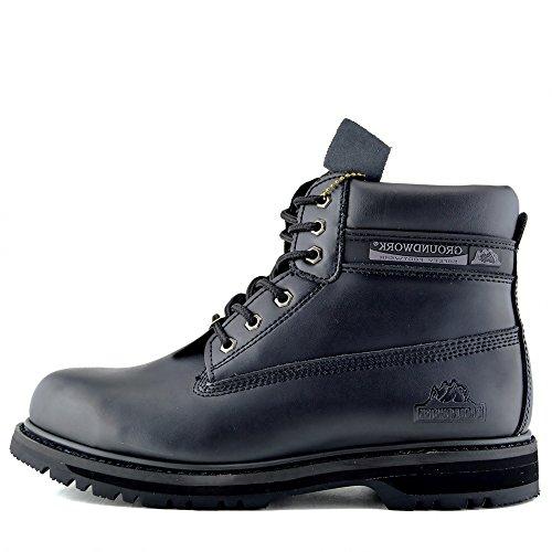 Herren Groundwork Stahl-Zehe-Sicherheits-Schuhe Lace Up Arbeiten Knöchel-Leder-Stiefel Händler - UK 14 / EU 48, Schwarz